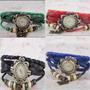 Hermoso Reloj Mujer Vintage Cuero Trenzado Mariposa Colores