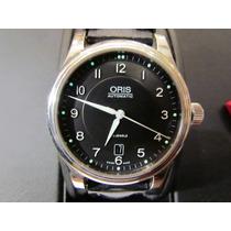 Reloj Oris Automatico Suizo Acero Cristal Cuero Maquinaria