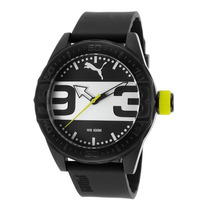 Reloj Puma Black Silicone Black And Silver-tone Dial -