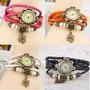 Hermoso Reloj Mujer Vintage De Cuero Trenzado Colores