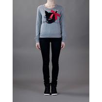 Autentico Sweater Love Moschino Gatito Gris Nuevo T34 (xs)