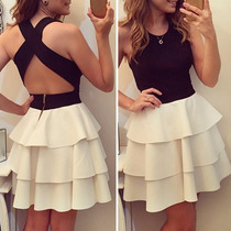 Vestido De Fiesta Top Negro Falda Blanca