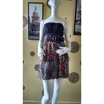 Exclusivo Vestido Strapless A De Fiesta Animal Print S