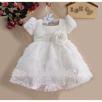 Vestido Rosas Blanco Talla 9 Meses Hasta 3 Años (bautizo)