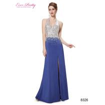 Vestido De Noche Azulplata Lentejuelas Sin Espalda (size 12)
