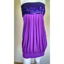 Exclusivo Vestido De Fiesta Lila Strapless Lentejuelas 38 S