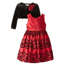 Vestido Fiesta Rojo Y Negro Bordado Con Bolero 5 Y 6