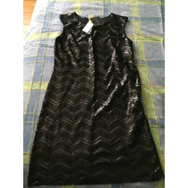 Vestido Corto De Lentejuelas Color Negro Sin Mangas. Talla M