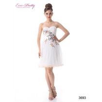Hermoso Vestido Blanco Bordado Ideal Graduación, Fiestas