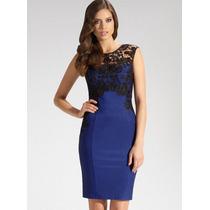 Vestido Azul Con Encaje Negro M L Y Talla Grande Xxl