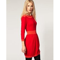 Vestido Cuello Bote Asos Rojo Naranja Tejido Hilo T42