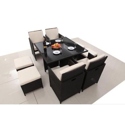 Juego terraza comedor simil rat n 9 piezas homeparts en for Juego de terraza usado chile